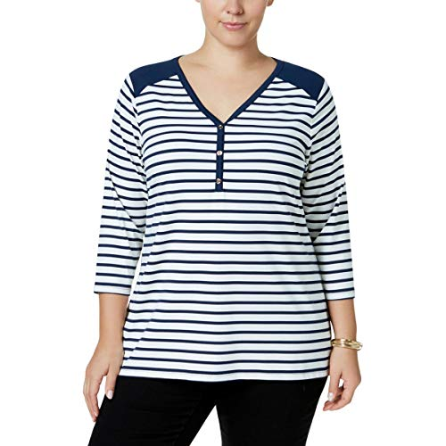 Charter Club Womens Plus Matte Jersey 3/4 Sleeves Henley Top Blue 2X ()