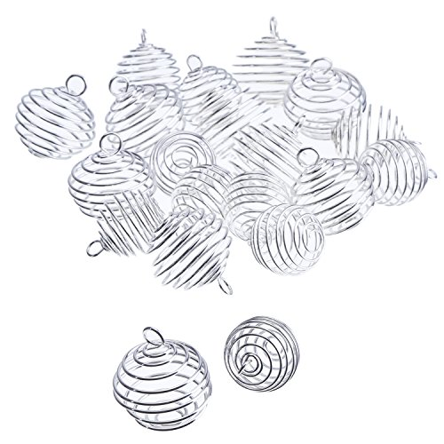 al Bead Cages Pendants Findings Silver Plated for Jewelry Making, 2 Sizes (Alloy Loose Ball)