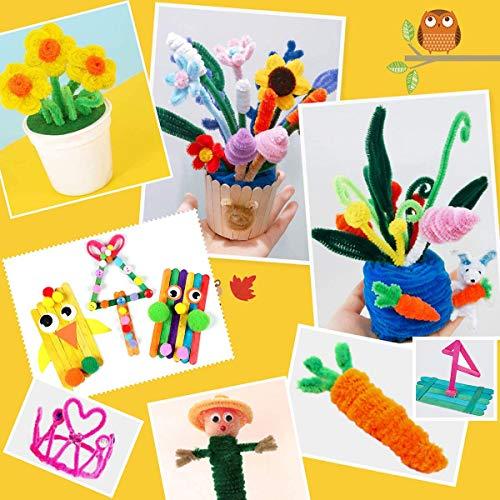 Google Eyes Pipe Cleaners PANSHAN Mega Kids Crafts Kit and Art Supplies Jar Kit-1320+ Piece Set Make Bracelets and Necklaces Plus Glitter Glue Construction Paper Colored Popsicle Sticks