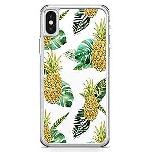 iPhone X Transparent Edge Phone Case Pineapple Phone Case Summer iPhone X Cover with Transparent Frame