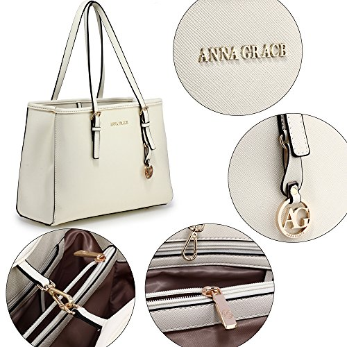 Bags Large Ladies Faux White Shoulder Womens Leather Designer 2 Design Office College Handbags qEwCOpC