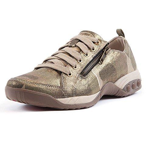 Therafit Shoe Womens Sienna Side Zip Sport Casual Walking Shoe Tan sy53e