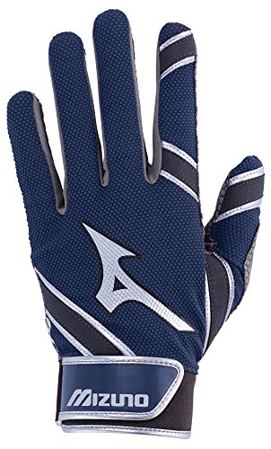 Mizuno MVP Youth Kid's Baseball Batting Gloves, Medium, Navy