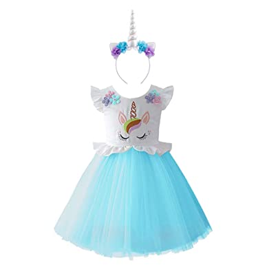 91eb33d4a1555 Girls Unicorn Costume Rainbow Cosplay Fancy Dress Up Princess Ruffled Tulle  Tutu Skirt Birthday Party Outfits Kids Baby Pageant Carnival Halloween ...