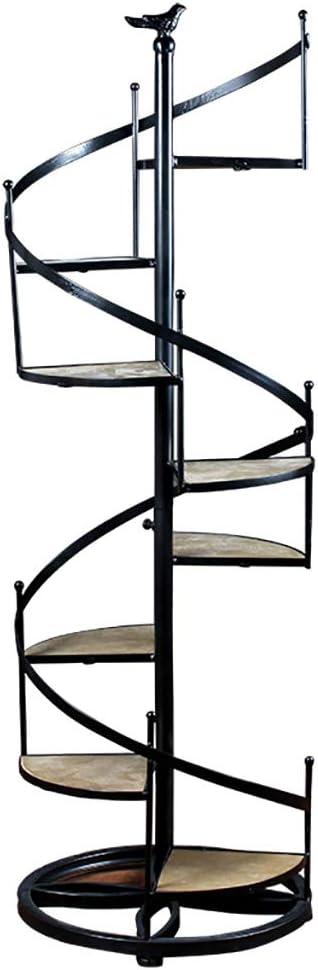 LZY Rui Escalera de Caracol de Hierro Forjado de Estilo nórdico Estante para Soporte de decoración Estante para 8 macetas para Interior Balcón al Aire Libre Jardín Patio Patio