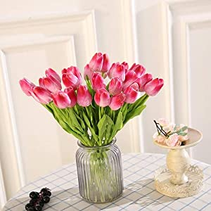 21 Pcs Real Touch Tulip Artificial Flowers- Artificial Fake Silk Flowers- Bridal Wedding Decorations- Wedding Decoration Spring Simulation Flowers- Vintage Wedding Decorations Flowers 1