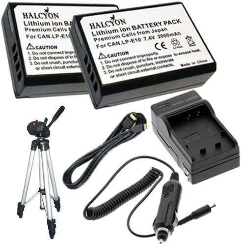 Full Size 50 Tripod for Canon EOS Rebel T3 Digital SLR Camera DavisMAX Bundle TWO LP-E10 Lithium Ion Replacement Battery w//Charger Mini HDMI Cable