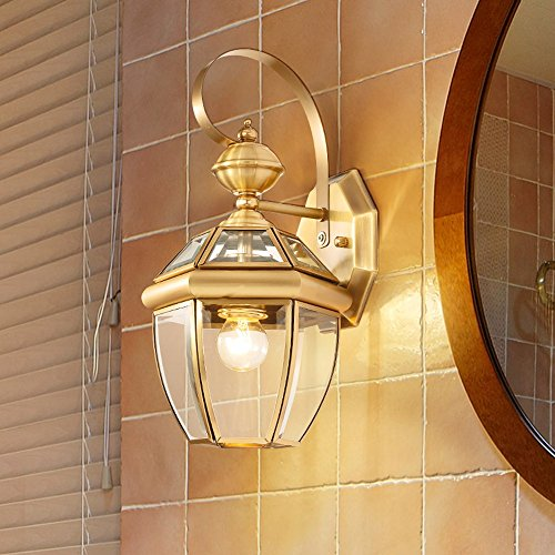 13.78 Inch/35cm high wall lamp Modern minimalist fashion E27 light bulb 1 31-40w copper Glass lampshade Bar Bedroom Living room outdoor (Gold) by Lizichun (Image #1)'