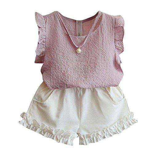 rls Summer T-Shirt Tops+Shorts Pants Set, Clearance! (5/6T, Pink) ()