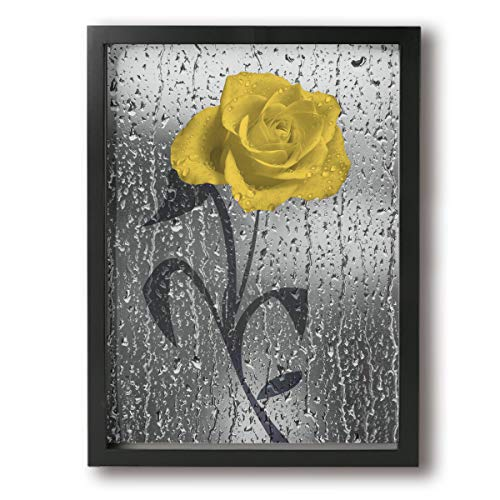 Art-Logo Elegant Yellow Gray Rose Flower Bathroom Shower Bubble Modern Canvas Wall Art Photo Printed On Canvas Framed Artwork for Office Wall Decoration Ready to Hang 12x16in ()
