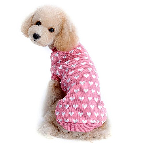 Gyoume Pet Dog Sweater Coats Love Heart Pet Dog Sweater Cute Puppy Pullover Sweater Knitwear Tops Doggy Clothes -