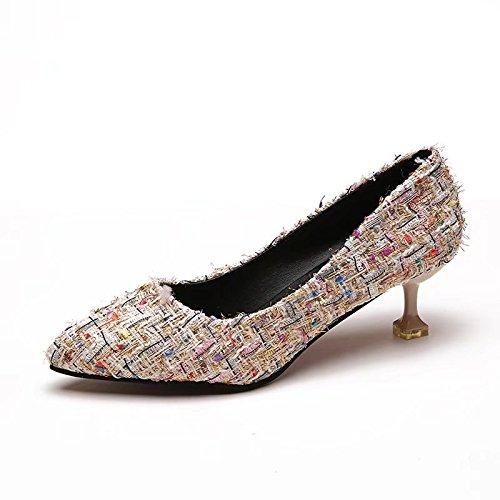 Style Les Fine De Dames Talons Tissu Pour Hauts Un Avec Chaussures Unique En Talon Pointe 38 Beige rIqBIg4w