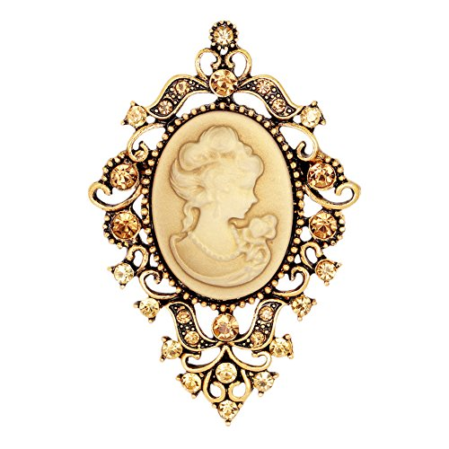 Floral Cameo Pin - Ever Cute Women Cameo Brooches Vintage Floral Lapel Pins Suit jewelry Accessories-Antique Gold
