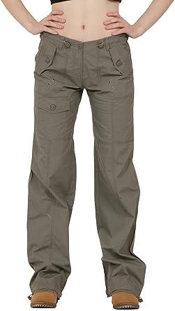 Femme Pantalon Treillis Cargo Léger en Coton