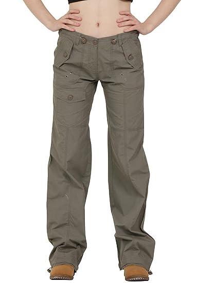 0a2f02de4e86 Femme Pantalon Treillis Cargo Léger en Coton Coupe Large - Vert (34 ...