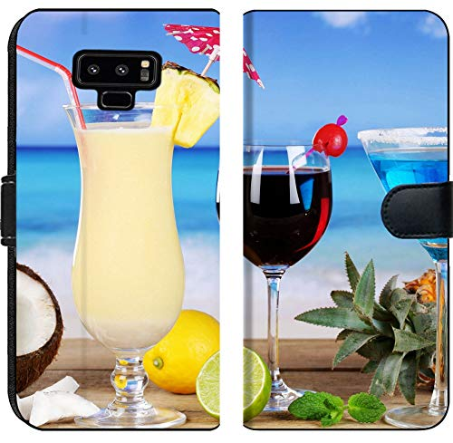 (Liili Premium Samsung Galaxy Note9 Flip Micro Fabric Wallet Case Cocktails Like Pina Colada and Blue Curacao on The Beach While on Vacation Image ID 27116223)