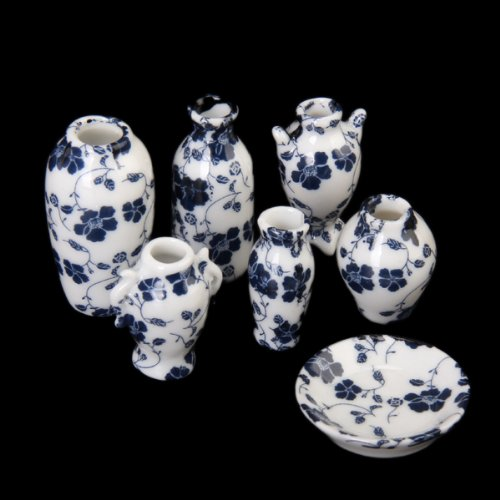 (1/12 Dollhouse Blue and White Porcelain Vase Ceramic Miniatures China -7 PCS )