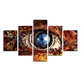 AtfArt 5 Piece Modern decor home wall art for the Hall image be Steampunk eyes poster abstract on canvas oil painting canvas print (No Frame) Unframed far253 50 inch x30 inch