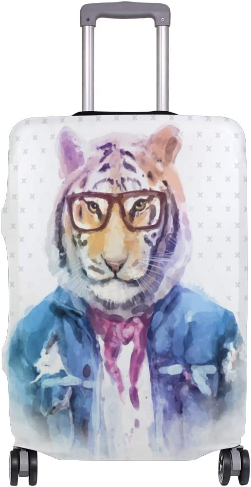 Blue Viper Watercolor Hipster Animals Tiger Luggage Protective Cover Suitcase Protector Fits 26-28 Inch Luggage