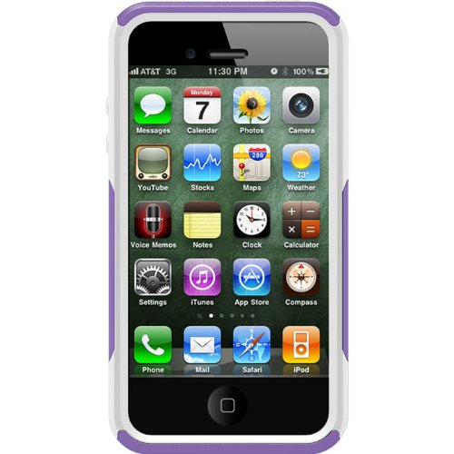 best cheap ab707 4cb26 OtterBox Commuter Series Case for iPhone 4/4S - Retail Packaging -  Purple/White (Discontinued by Manufacturer)