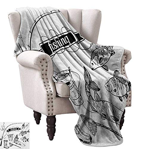 WinfreyDecor Fishing Living Room/Bedroom Warm Blanket Hand Drawn Fishing Tools Set with Rod Salmon and Perch Bucket Net Float Ribbon All Season Premium Bed Blanket 70