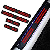 4pcs Carbon Fiber Car Door Sill Scuff Protector Welcome Pedal Protector for DODGE Challenger Viper Durango Journey Magnum Charger Avenger