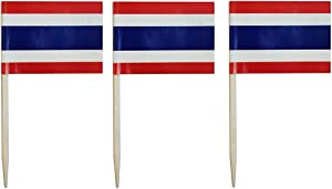 JAVD CYPS 100 Pcs Thailand Flag Thai Toothpick Flags, Small Mini Stick Cupcake Toppers Thai Flags,Country Picks Party Decoration Celebration Cocktail Food Bar Cake Flags