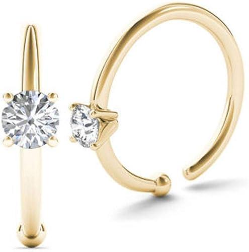 Amazon Com Jewelmore 0 01ct Diamond Nose Ring Hoop 14kyellow