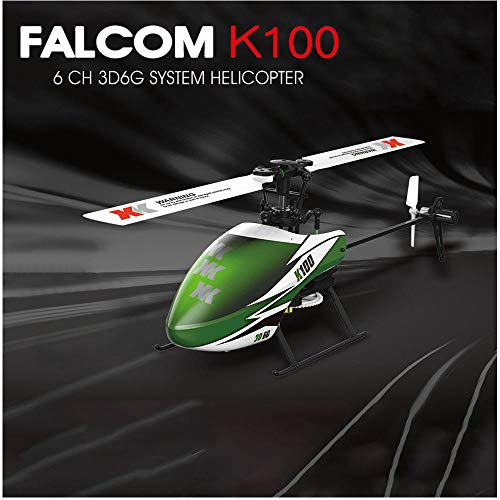 RTF RC Helicopter | 6-Gyro Remote Control Aircraft | XK K100 6CH 3D 6G System 6 Channels Indoor Ready to Fly (Green)