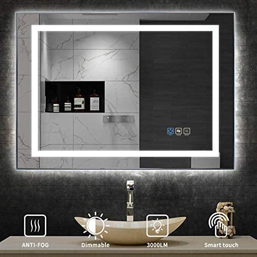 UVII 32 x24 LED Lighted Bathroom Mirror, Horizontal Vertical Wall Mounted Vanity Mirror with Light, Anti Fog, 3000K-6400K, Dimmable Touch Sensor