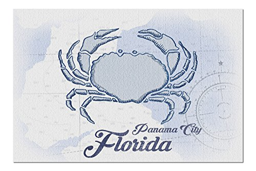 Panama City, Florida - Crab - Blue - Coastal Icon (20x30 Premium 1000 Piece Jigsaw Puzzle, Made in USA!) ()