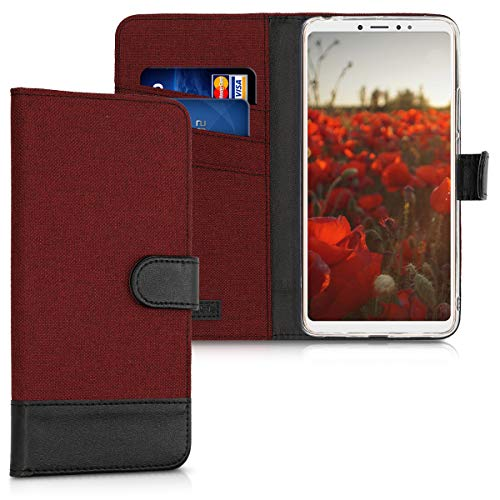 kwmobile Funda para Xiaomi Mi MAX 3 - Carcasa de Tela y [Cuero sintético] - con Tapa y [Tarjetero] [Rojo Oscuro/Negro]