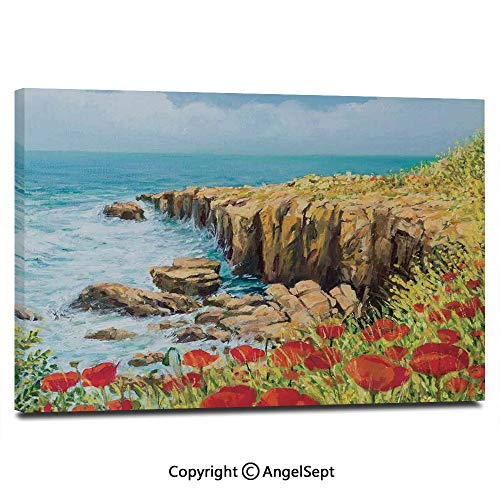 Modern Salon Theme Mural Coastal Seascape and Poppies on The Cliffs High Above The Bay Image Print Painting Canvas Wall Art for Home Decor 24x36inches, Red Peach Dark Green