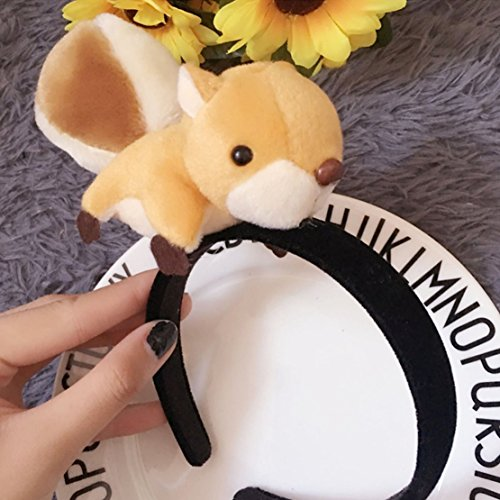 Festival Party Decor Hand-Made 3D Squirrel Head Band Headdress Cute Funny Gift Plush toys (Decor Horsehair)