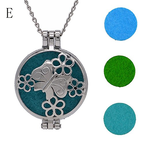 FEDULK Vintage Pendant for Women Hollow Essential Oil Diffuser Necklace and Pad Fragrance Classic Girls Jewelry(E)