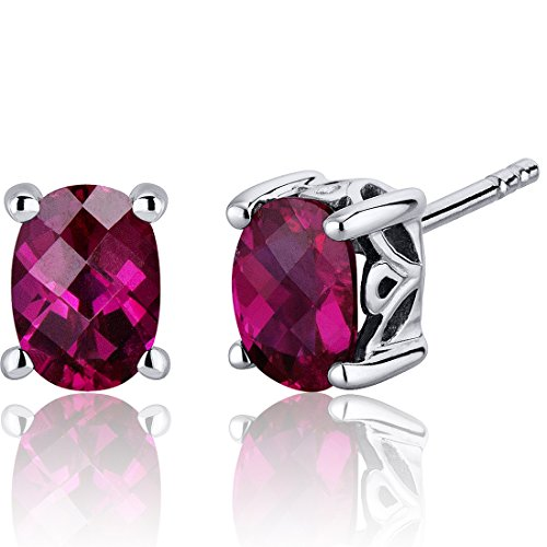 (Basket Style 2.00 Carats Created Ruby Oval Cut Stud Earrings in Sterling Silver Rhodium Nickel Finish)