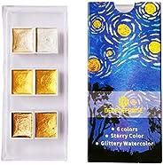 angwang Feito à mão 6/12 cores glitter água conjunto metálico dourado aquarela pigmento pintura artística