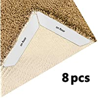 Dinines Rug Gripper for Carpet No Slip Rug Pads 8pcs Removable and Reusable Carpet Gripper Tape Keeps Rugs in Place and Corners Flat,Ideal Anti Slip Rug Pad for Hardwood Floors,Kitchen,Bathroom