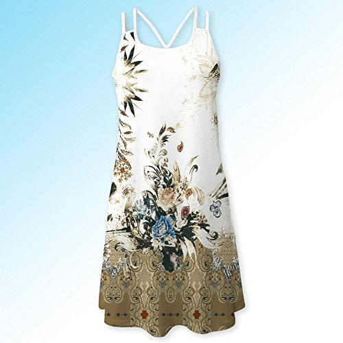 Todaies Women Summer Floral Print Dress, Vintage Sleeveless 3D Bohe Tank Short Mini Dress (2XL, White 1) by Todaies (Image #4)