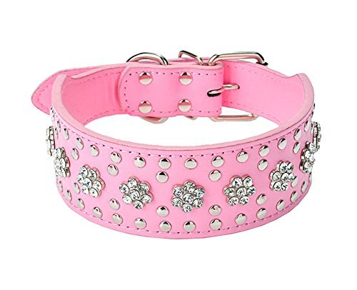 "DGQ 17""-20"" Adjustable Rhinestone Studded Leather Dog Collar - Bling Plum Flower Style"