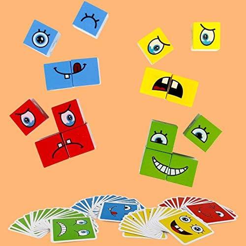 jerryvon Juguetes Montessori Puzzles Infantiles Cubos de Cara Bloques Construcci/ón Juguetes de Madera Juegos Educativos Creativo L/ógica Rompecabezas Regalos para Ni/ños Ni/ñas 3 4 5 6 A/ños