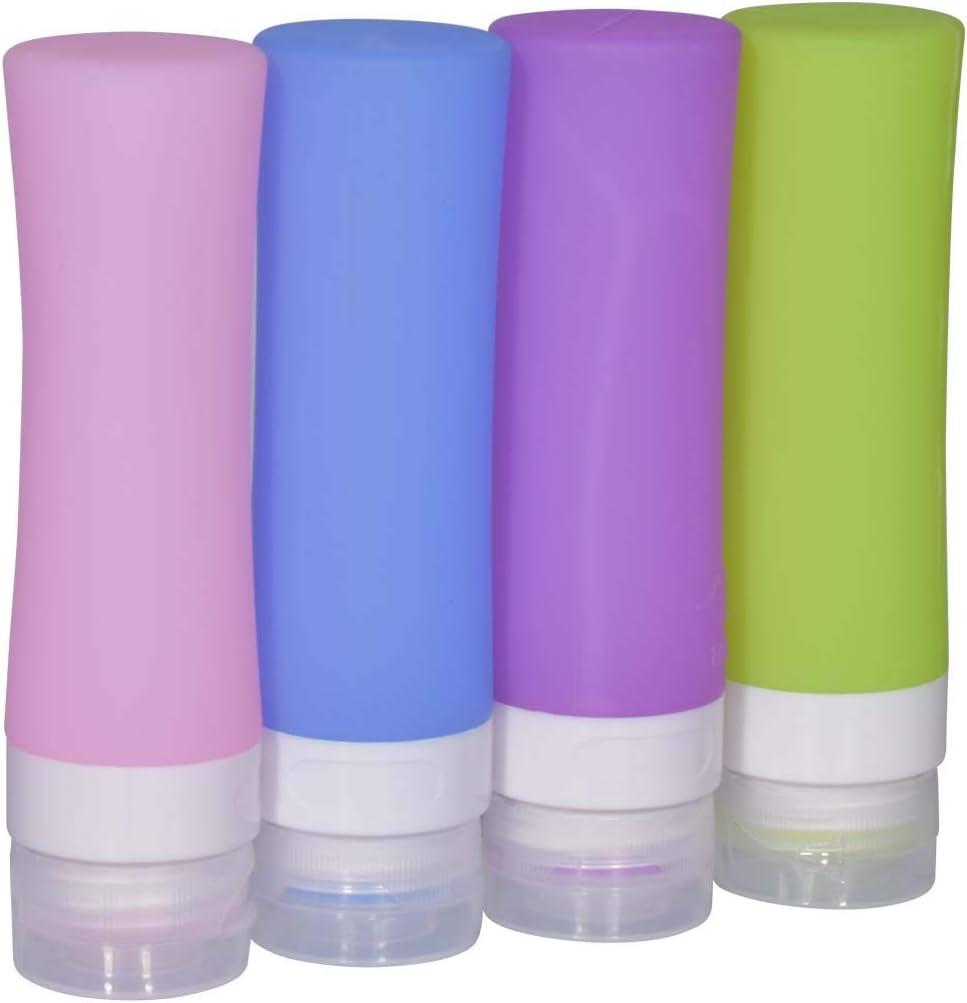 Botellas Silicona de Viaje, 4pcs Portátil Botes Viaje Set, para Champú, Crema de Baño, lociones, Acondicionador (80ml)