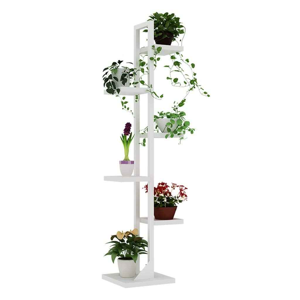 Iron Multi-Layer Plant Stand Shelf Garden Artificial Wood partition for Outdoor Indoor (Color : White#3)