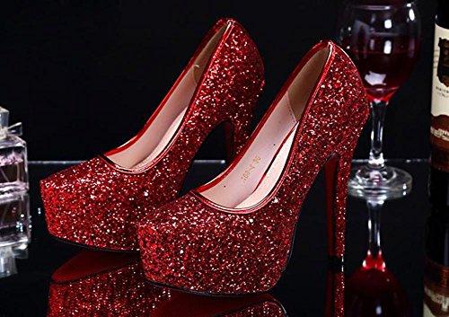 Paillettes Été Table Danses Imperméable Femme Avec Des Fine Robe Rouge Haute Pompes Sandales Cristal Talons Dames RqvPYdvw