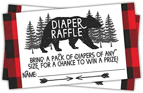 Lumberjack Diaper Raffle Tickets (50 Count) - Baby Shower Game