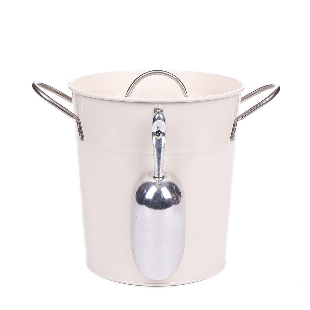 Home by Jackie Inc T586 Cream White 4L Metal Double Walled Ice Bucket Set With Lid And Scoop