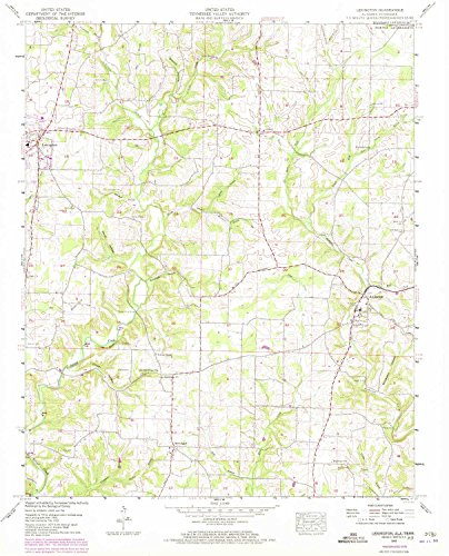 Lexington AL topo map, 1:24000 scale, 7.5 X 7.5 Minute, Historical, 1952, updated 1973, 26.8 x 21.6 IN - (Birch Cedar Bridge)