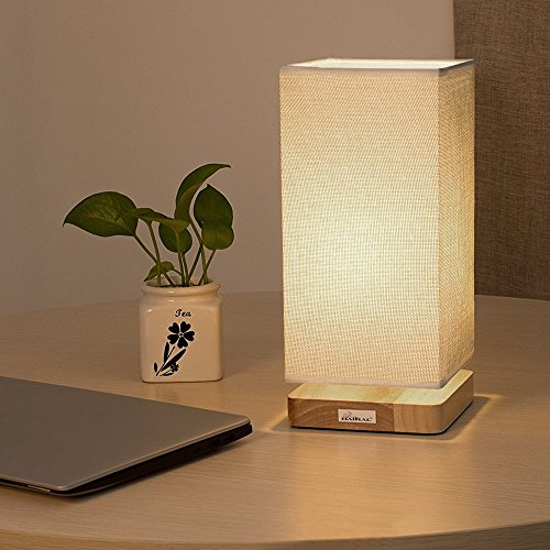 HAITRAL Table Lamp Bedside Desk Lamp with Fabric Shade Wood Base Night Light for Bedroom, Living Room, Baby Room, College Dorm by HAITRAL (Image #2)