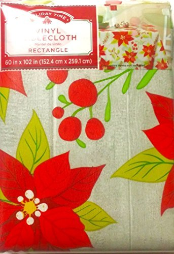 Contemporary Poinsettia Lightweight Vinyl Tablecloth 60Inch X 102Inch