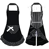 Hyzrz Hot Black Cute Girls Bowknot Lady's Kitchen Restaurant Flirty Women's Cake Apron with Pocket